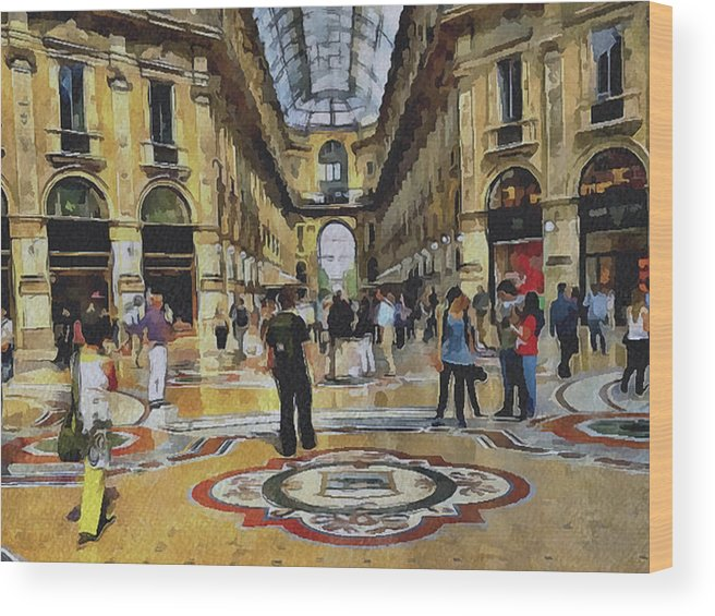 Milan Wood Print featuring the digital art Milano Shopping Center 2 by Yury Malkov