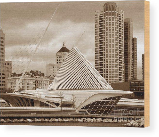 Milwaukee Art Museum Wood Print featuring the photograph Milwaukee Art Museum In Winter by David Bearden