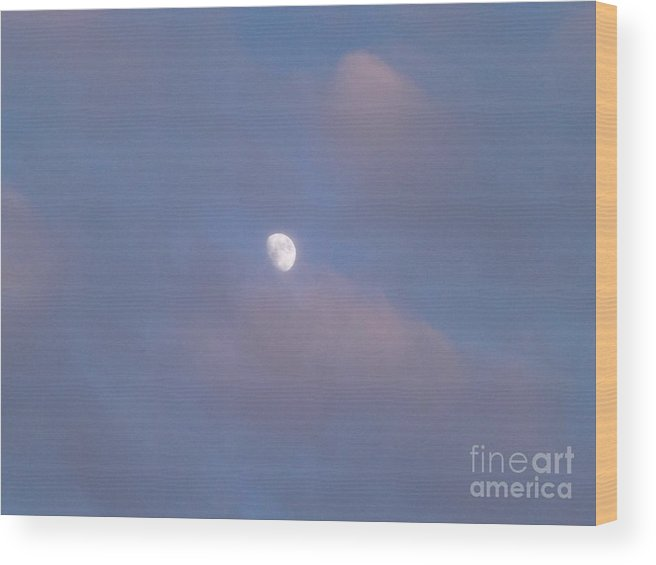 Moon Wood Print featuring the photograph Moon At Sunset by Jussta Jussta