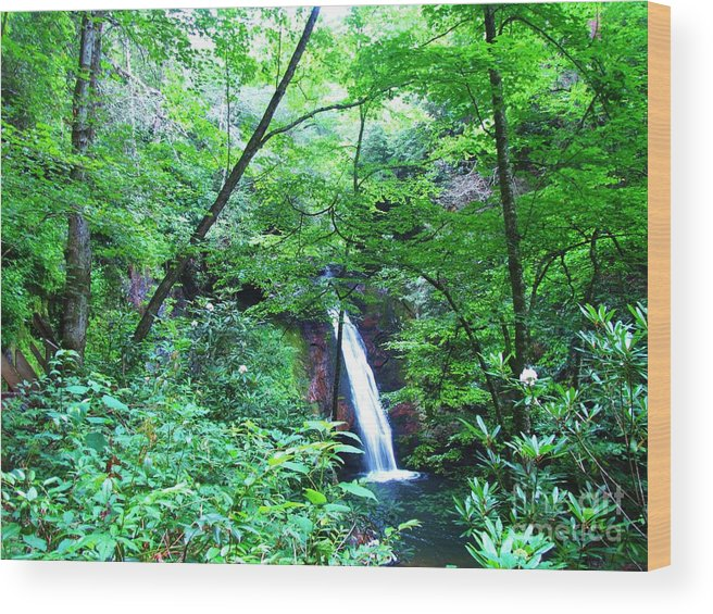 Keri West Wood Print featuring the photograph Moon Falls by Keri West