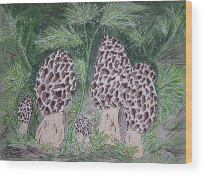 Morel Wood Print featuring the painting Morel Mushrooms by Kathy Marrs Chandler