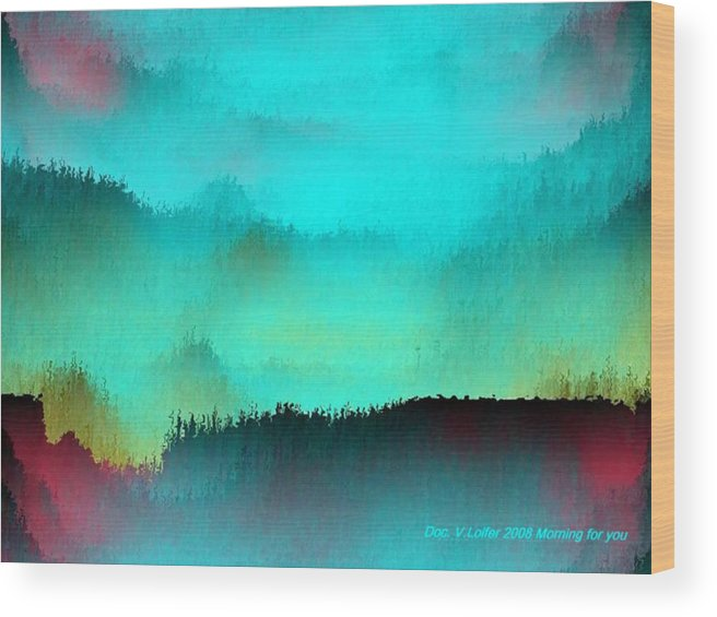 Morning Fog Silhouette The Layers Of The Fog Colors Pale Blue Rose Black Wood Print featuring the digital art Morning For You by Dr Loifer Vladimir