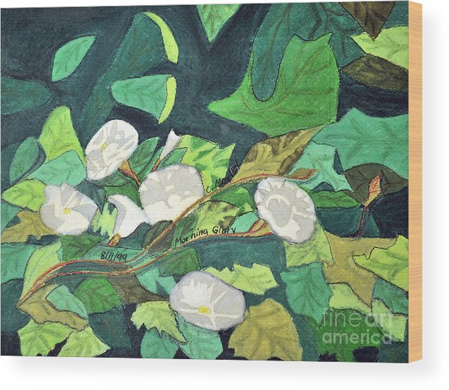 Abstract Wood Print featuring the painting Morning Glory by Cora Eklund