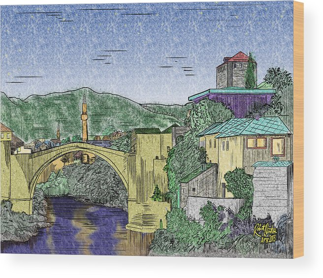 Landmarks Landscape Denton Disabled Discovery Bridges Famous Painting Digital Drawing Wood Print featuring the painting Morstar Bridge Colored by Robert Denton