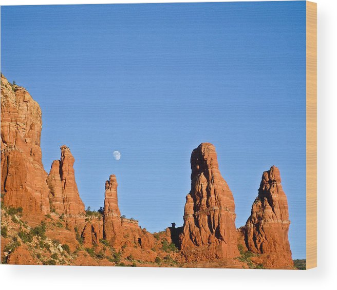 Mother Wood Print featuring the photograph Mother And Child And Moon by Douglas Barnett