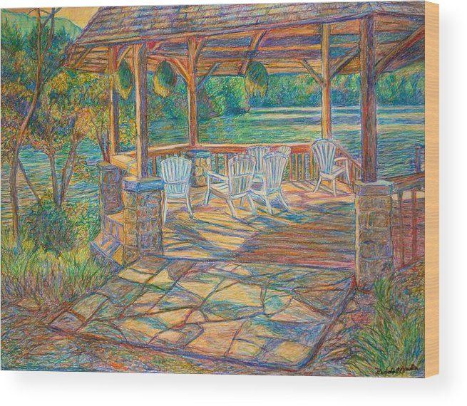 Lake Wood Print featuring the painting Mountain Lake Shadows by Kendall Kessler