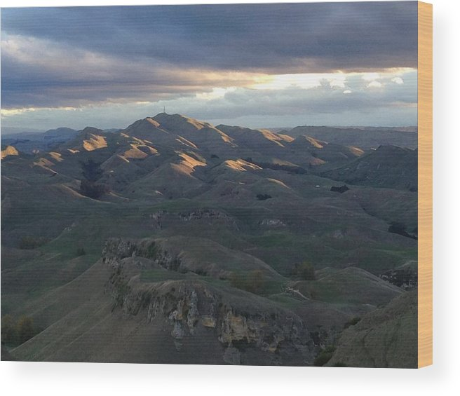 Mountains Wood Print featuring the photograph Mountains At Sunset by Ron Torborg