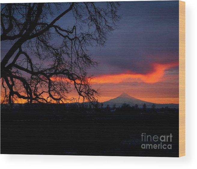 Mt. Hood Wood Print featuring the photograph Mt Hood Sunrise by Matt Hoffmann