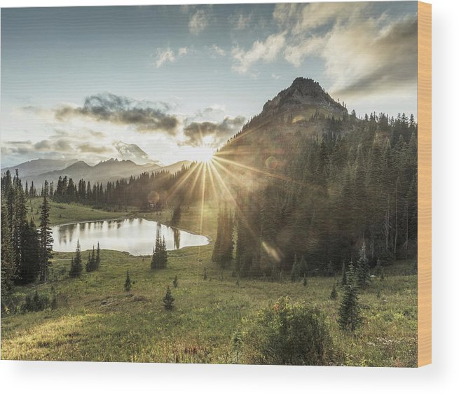 Scenics Wood Print featuring the photograph Mt.rainier In Sunset by Chinaface