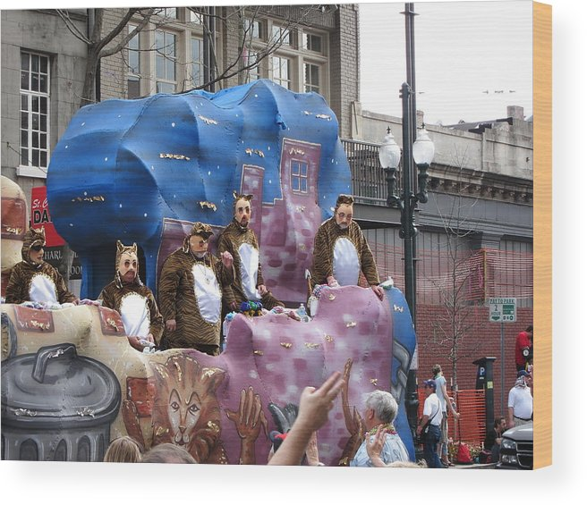 New Wood Print featuring the photograph New Orleans - Mardi Gras Parades - 1212118 by DC Photographer