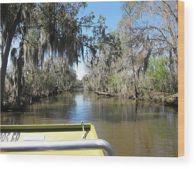 New Wood Print featuring the photograph New Orleans - Swamp Boat Ride - 1212123 by DC Photographer