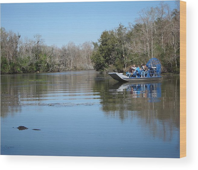 New Wood Print featuring the photograph New Orleans - Swamp Boat Ride - 121289 by DC Photographer