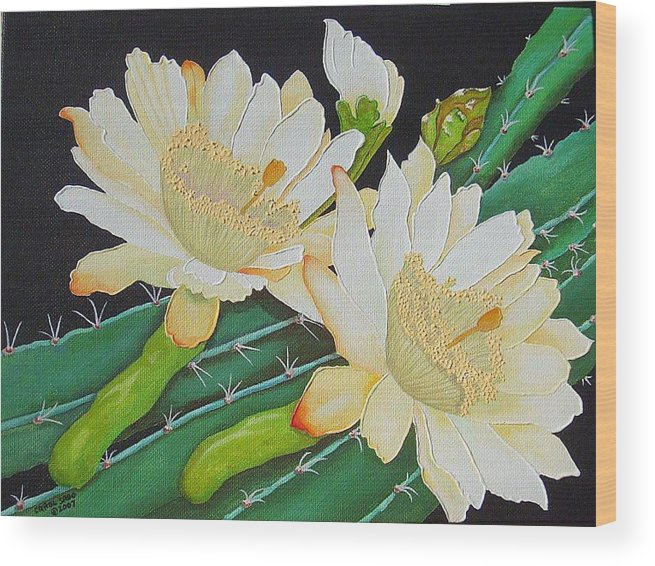 Acrylic Wood Print featuring the painting Night Blooming Cacti by Carol Sabo