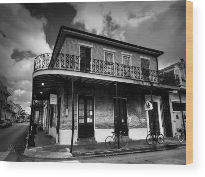New Orleans Wood Print featuring the photograph Nola - French Quarter 007 Bw by Lance Vaughn
