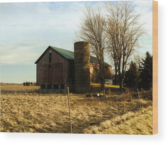 Digital Photography Barns Old Rual Trees Country Fiields Landscape Posters Prints Greeting Cards Wood Print featuring the mixed media Old Barn by Connie Dye