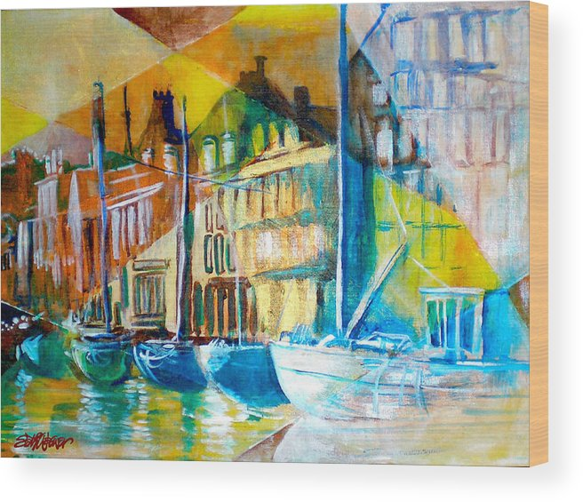 Old World Street Wood Print featuring the painting Old Copenhagen Thru Stained Glass by Seth Weaver