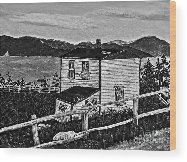 Memories Wood Print featuring the painting Old House - Memories - Shutters And Boards by Barbara Griffin
