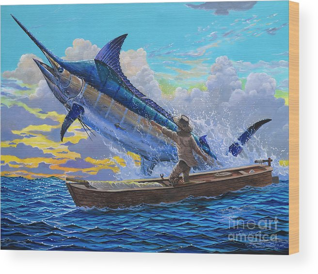 Marlin Wood Print featuring the painting Old Man And The Sea Off00133 by Carey Chen
