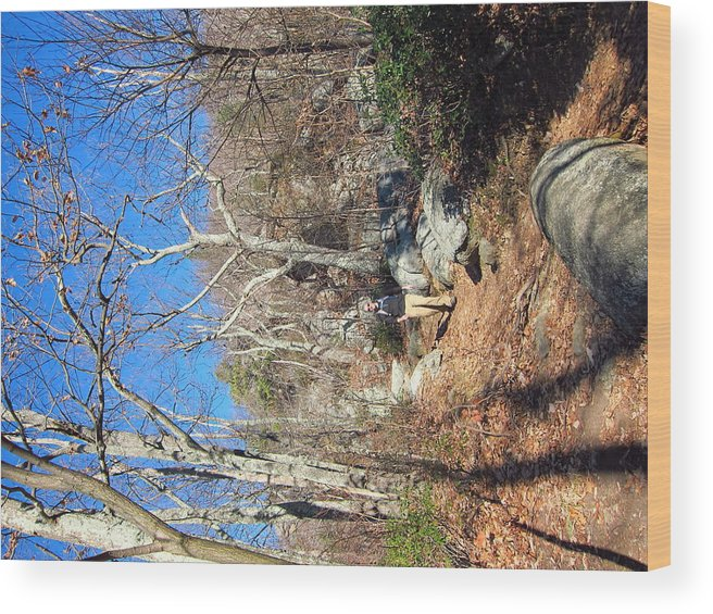 Old Wood Print featuring the photograph Old Rag Hiking Trail - 121246 by DC Photographer