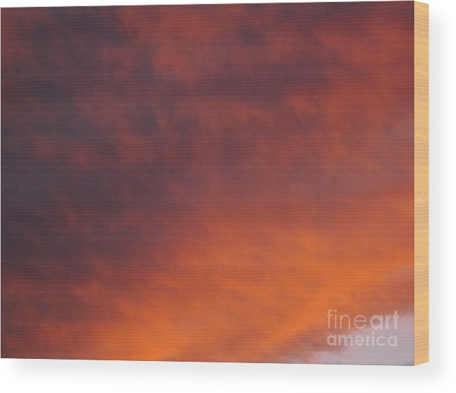 Sunset Wood Print featuring the photograph Orange Clouds At Sunset by Jussta Jussta