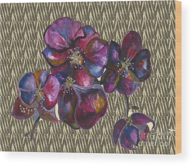 Watercolour Wood Print featuring the drawing Orchids Zebra by Karen Larter