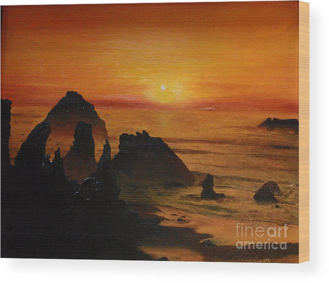 Sunset Wood Print featuring the painting Oregon Sunset by Suzette Kallen