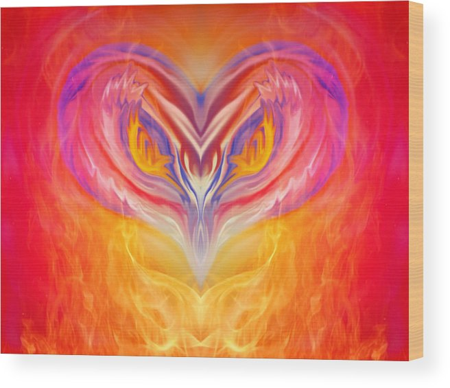 Symmetry Wood Print featuring the digital art Owl Fire by Pamala Dean