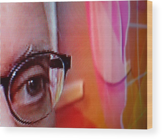 Macro Wood Print featuring the photograph Paused T.v. 6 by Rob Michels