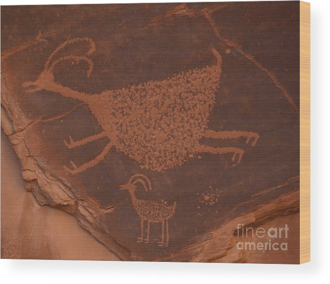 Red Wood Print featuring the photograph Pictograph 2 by Jacklyn Duryea Fraizer
