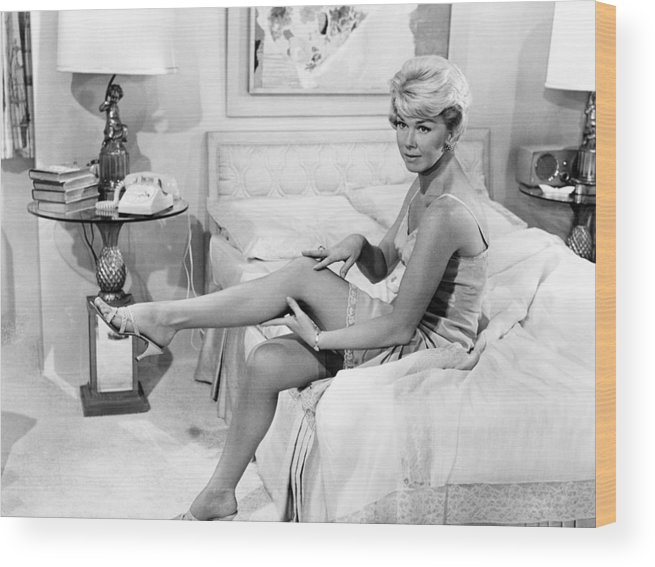 1950s Portraits Wood Print featuring the photograph Pillow Talk, Doris Day, 1959 by Everett
