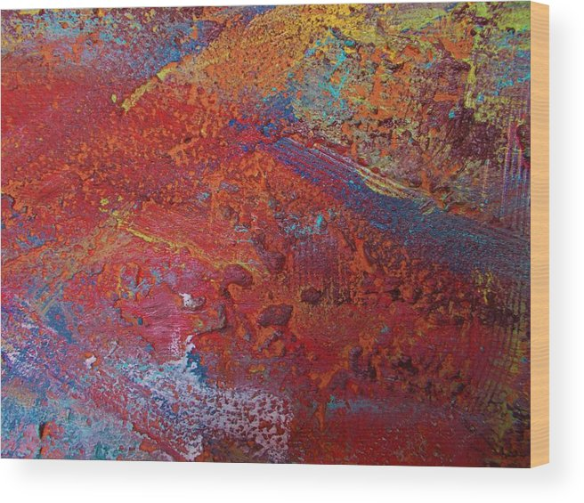 Original Wood Print featuring the painting Planet Mars by Artist Ai