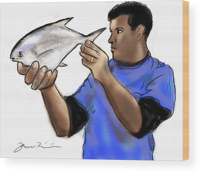 Pompano Wood Print featuring the painting Pompano Catch Of The Day by Jean Pacheco Ravinski