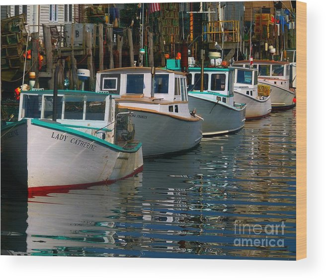 Portland Wood Print featuring the photograph Portland Lobster Row by Christine Stack