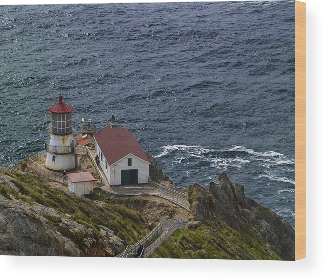 Pt. Reyes Wood Print featuring the photograph Pt Reyes Lighthouse by Bill Gallagher