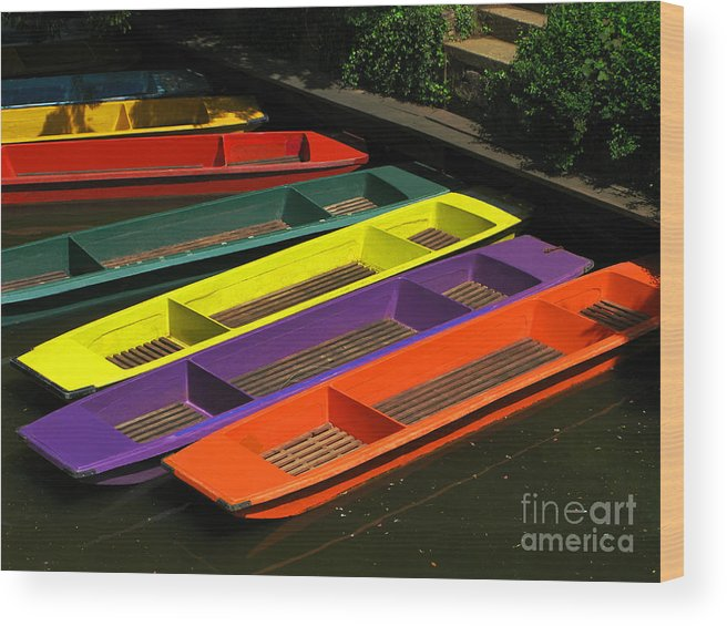 Punts Wood Print featuring the photograph Punts For Hire by Ann Horn