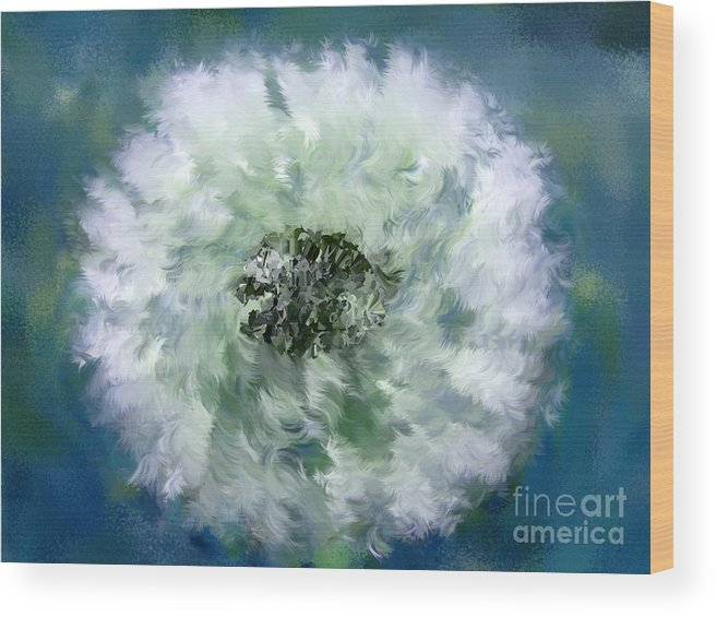 Flowers Wood Print featuring the digital art Pursuit Of Happiness Blue White by Holley Jacobs
