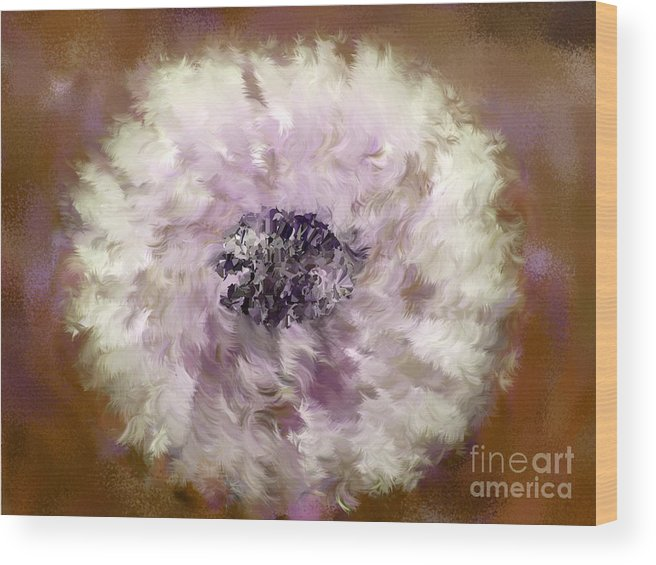 Flowers Wood Print featuring the digital art Pursuit Of Happiness Brown White by Holley Jacobs