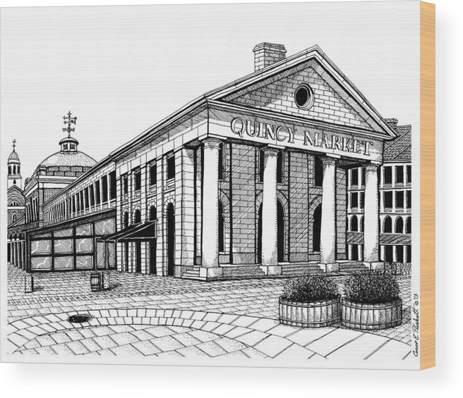 Quincy Market Wood Print featuring the drawing Quincy Market Boston by Conor Plunkett