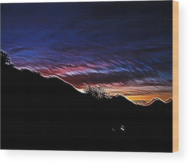 Sunset Wood Print featuring the digital art Radical Sunset by Bernie Sirelson