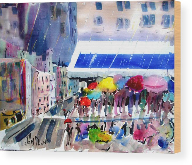 City Wood Print featuring the painting Rainy City by John Dunn