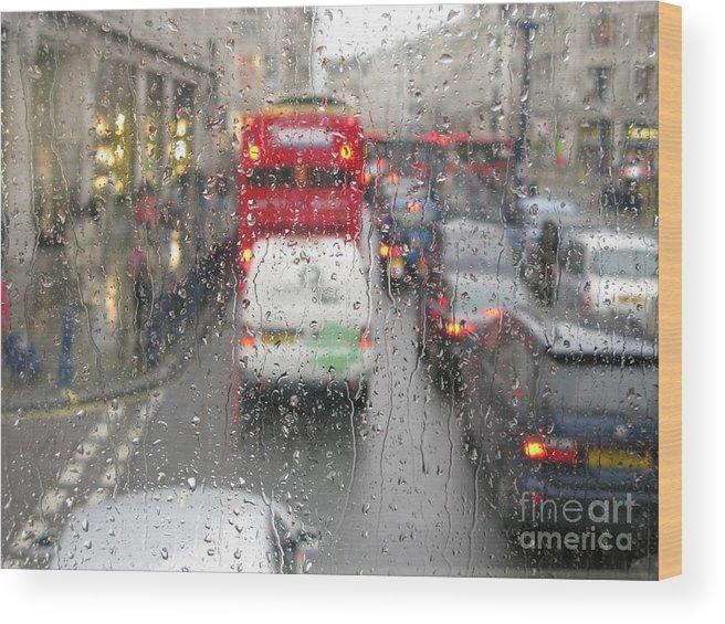 Rainy Day London Traffic By Ann Horn Wood Print featuring the photograph Rainy Day London Traffic by Ann Horn