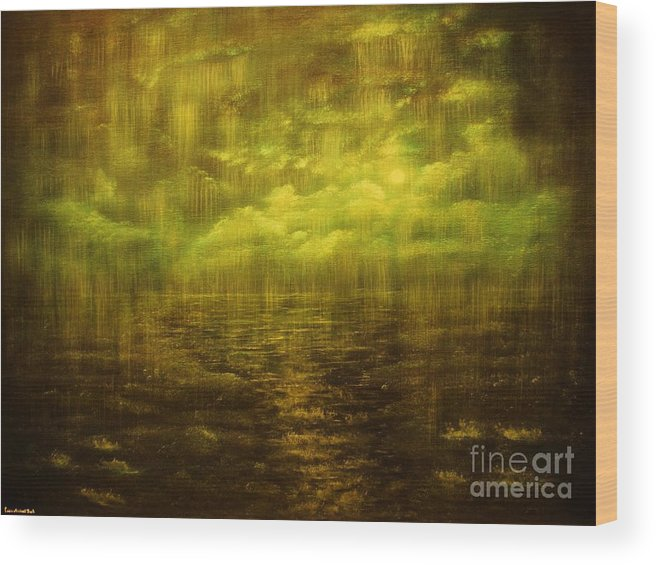 Rain Wood Print featuring the painting Rainy Night Over Norway-original Sold-buy Giclee Print Nr 20 Of Limited Edition Of 40 Prints by Eddie Michael Beck