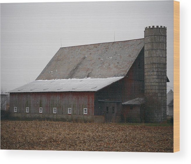 Barn Silo Castle Rural Farm Landscape Indiana Countryside Country Wood Print featuring the photograph Red Barn With Medieval Silo by Jim Nance