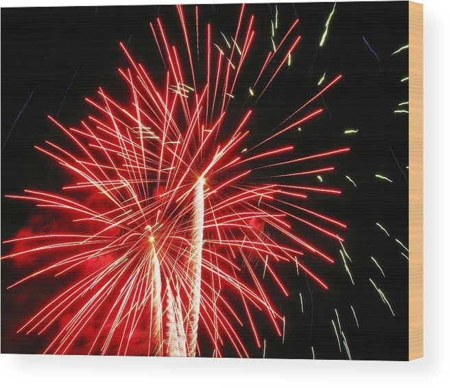 Fireworks Wood Print featuring the photograph Red Streaks In The Night by Steven Parker