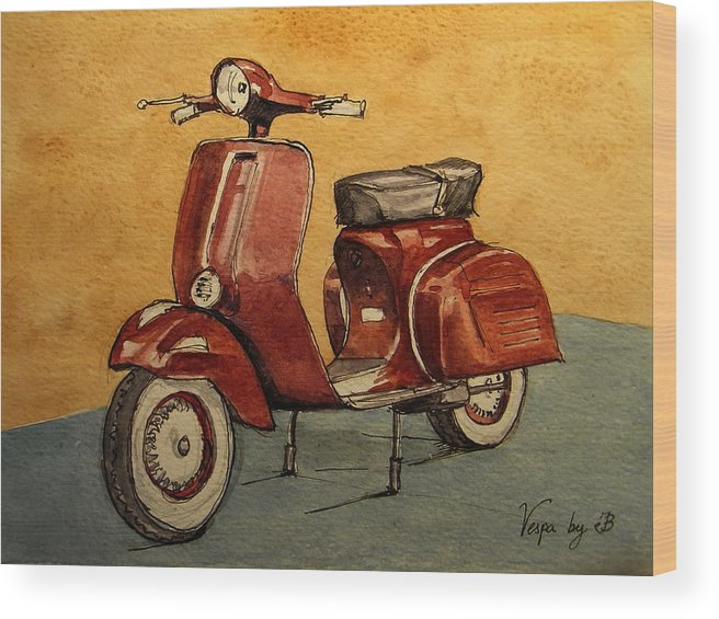 Red Wood Print featuring the painting Red Vespa by Juan Bosco