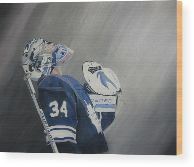 Toronto Maple Leafs Wood Print featuring the painting Reimer by Clifford Knoll