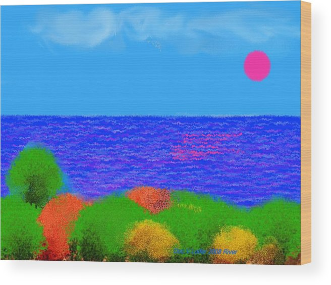 Sky.sun.clouds.sea.waves.sun Reflection.coast.trees.colors.green.blue.orange.yellow.evening.river.na Wood Print featuring the digital art River by Dr Loifer Vladimir