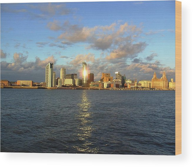 Urban Wood Print featuring the photograph River Mersey And Liverpool Waterfront by Steve Kearns