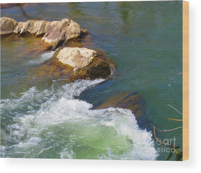 Great Falls Wood Print featuring the photograph River Rocks by Rrrose Pix