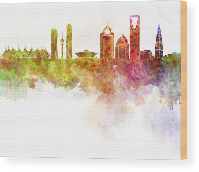 Riyadh Skyline Wood Print featuring the painting Riyadh Skyline In Watercolour On White Background by Pablo Romero